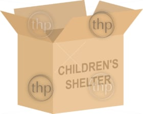 Cardboard box vector for childrens shelter charity concept