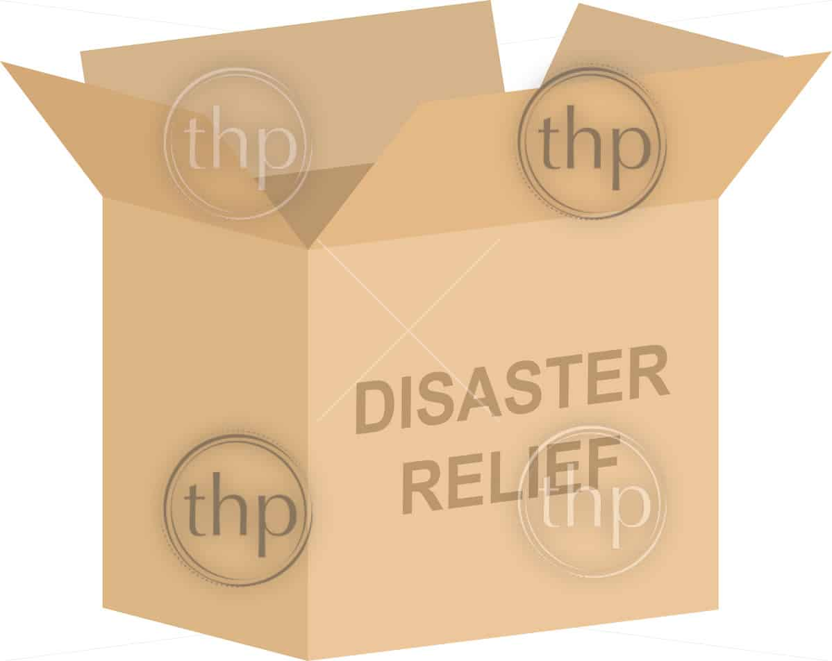 Cardboard box vector for disaster relief charity concept