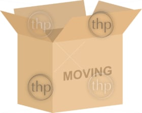 Open cardboard box vector for moving house concept