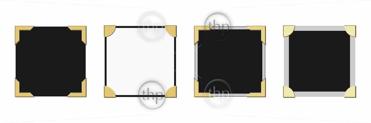 Old vintage style picture frame corners vector in various styles