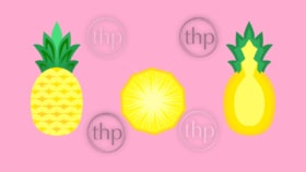 Pineapple fruit whole, halved and sliced in flat design vector style banner