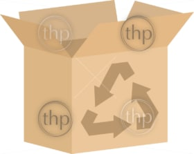 Open cardboard box vector with recycling symbol for charity or environmental concepts