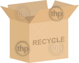 Open cardboard box vector with recycling symbol for charitable or environmental concepts