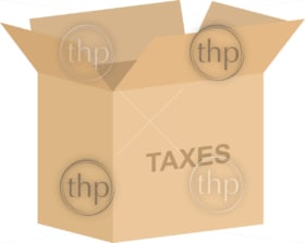 Open cardboard box vector for tax documents storage concept