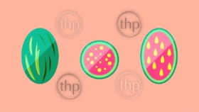 Watermelon whole, halved and sliced in flat design vector style banner