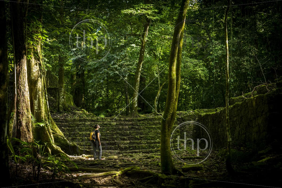 Adventure travel in jungle ruins with woman traveller