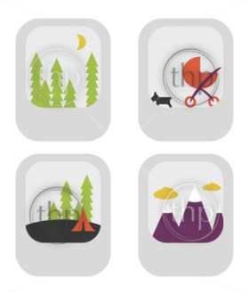 Assorted photo thumbnails of generic scenes in flat design vector style