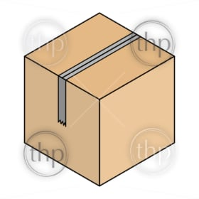 Line drawing of a cardboard packing box all taped up in isometric vector style
