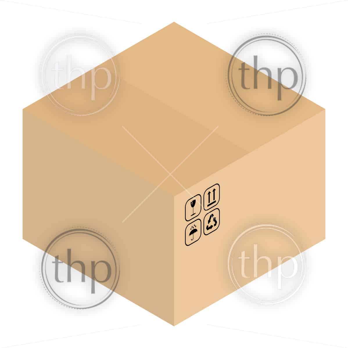 Carboard packing box vector with packaging symbols in isometric design style
