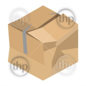 Crushed and damaged isometric vector cardboard packaging box with broken tape