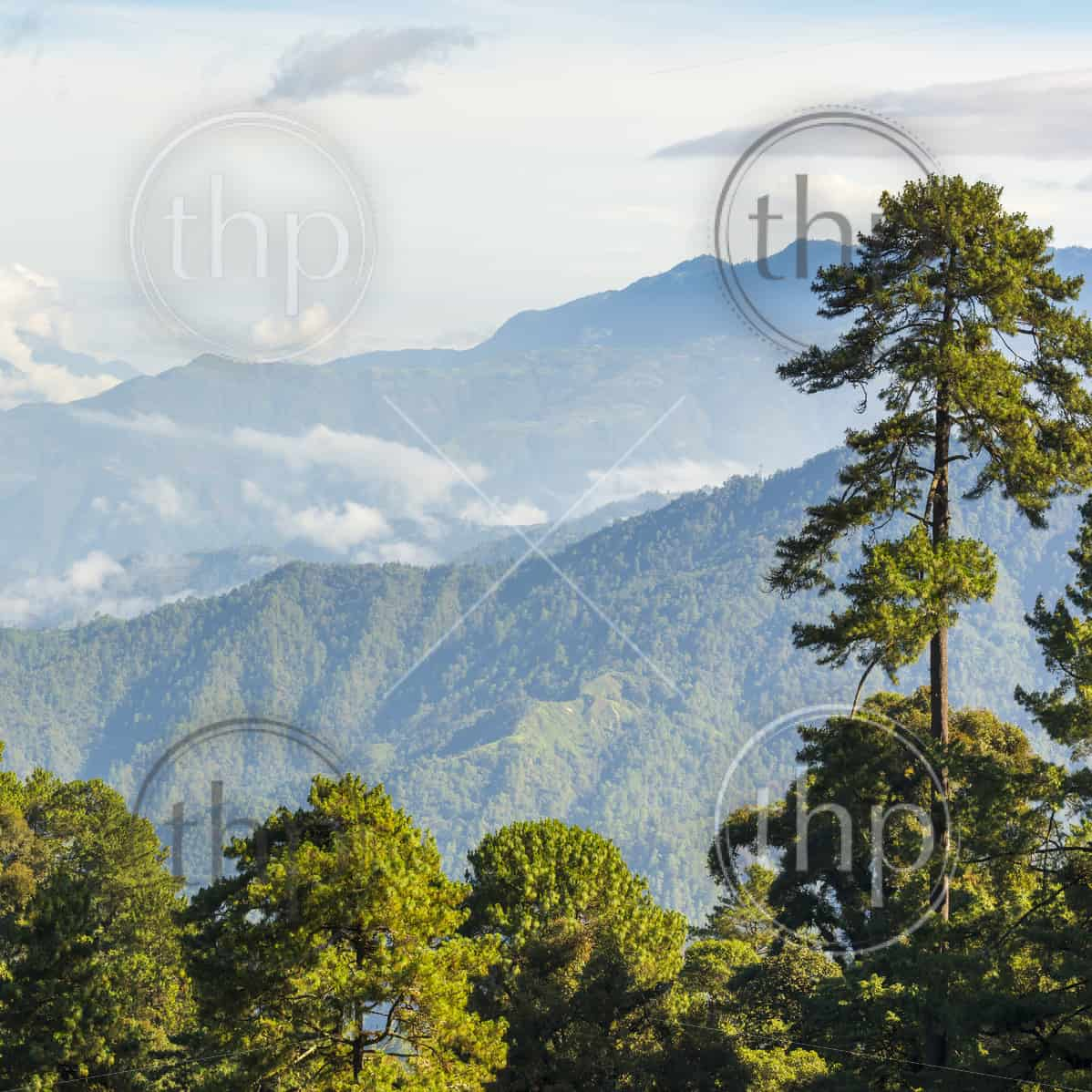 Landscape scenic of mountains around San Marcos in Guatemala