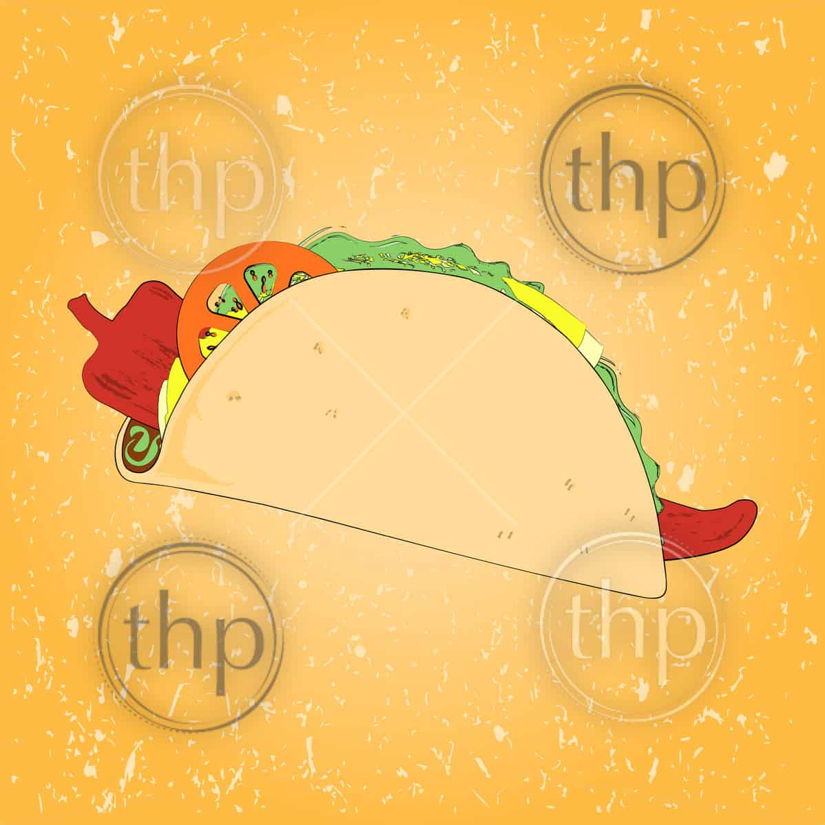 Mexico style taco sketch vector with texture