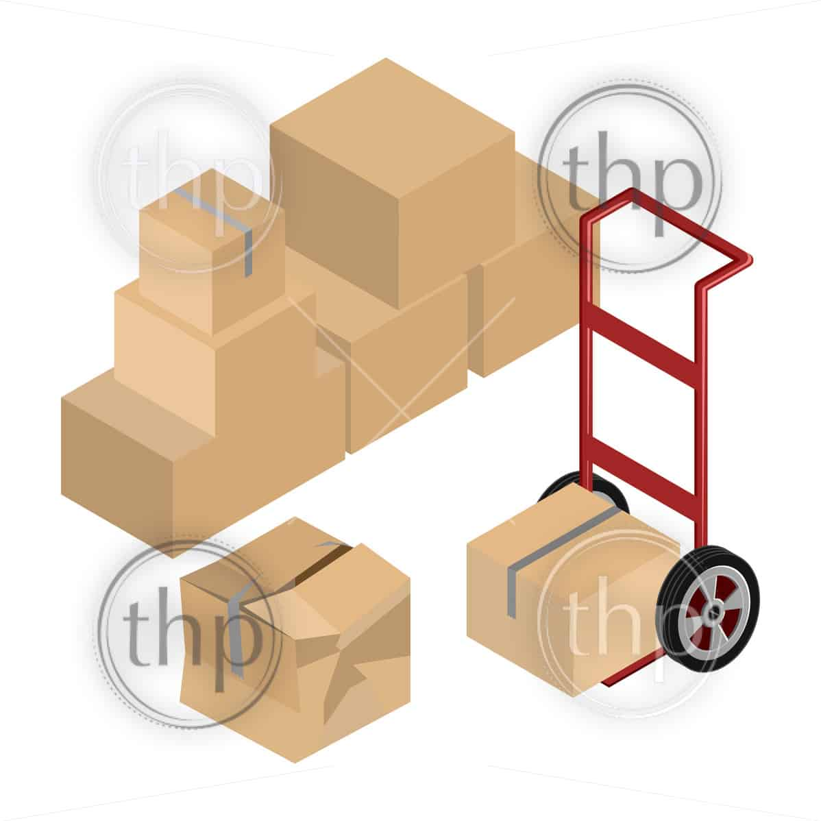 Moving dolly and cardboard boxes in isometric vector design for self storage concept