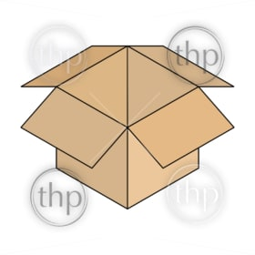 Line drawing of an open cardboard box in isometric vector