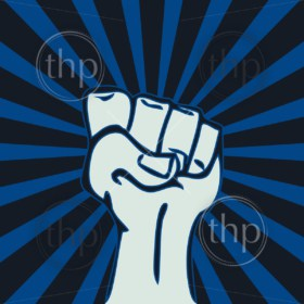Power symbol of a raised fist for revolution concept in vector