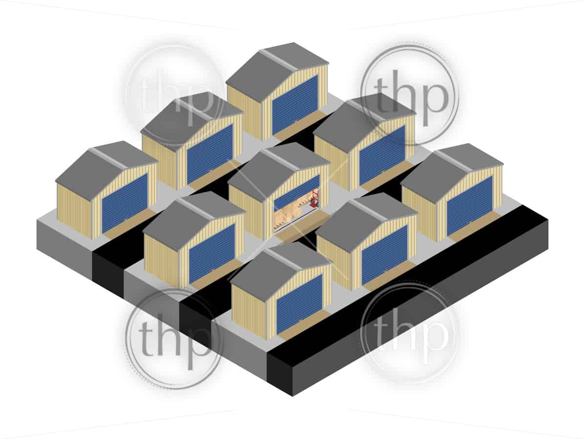 Secure self storage units with one open and full of boxes in isometric vector design