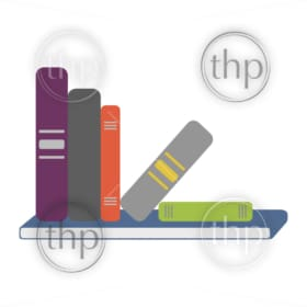 Shelf full of books falling over in flat design vector style