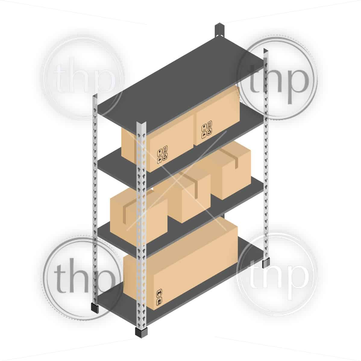 Metal storage shelves with boxes in isometric vector design for self storage or warehouse concept