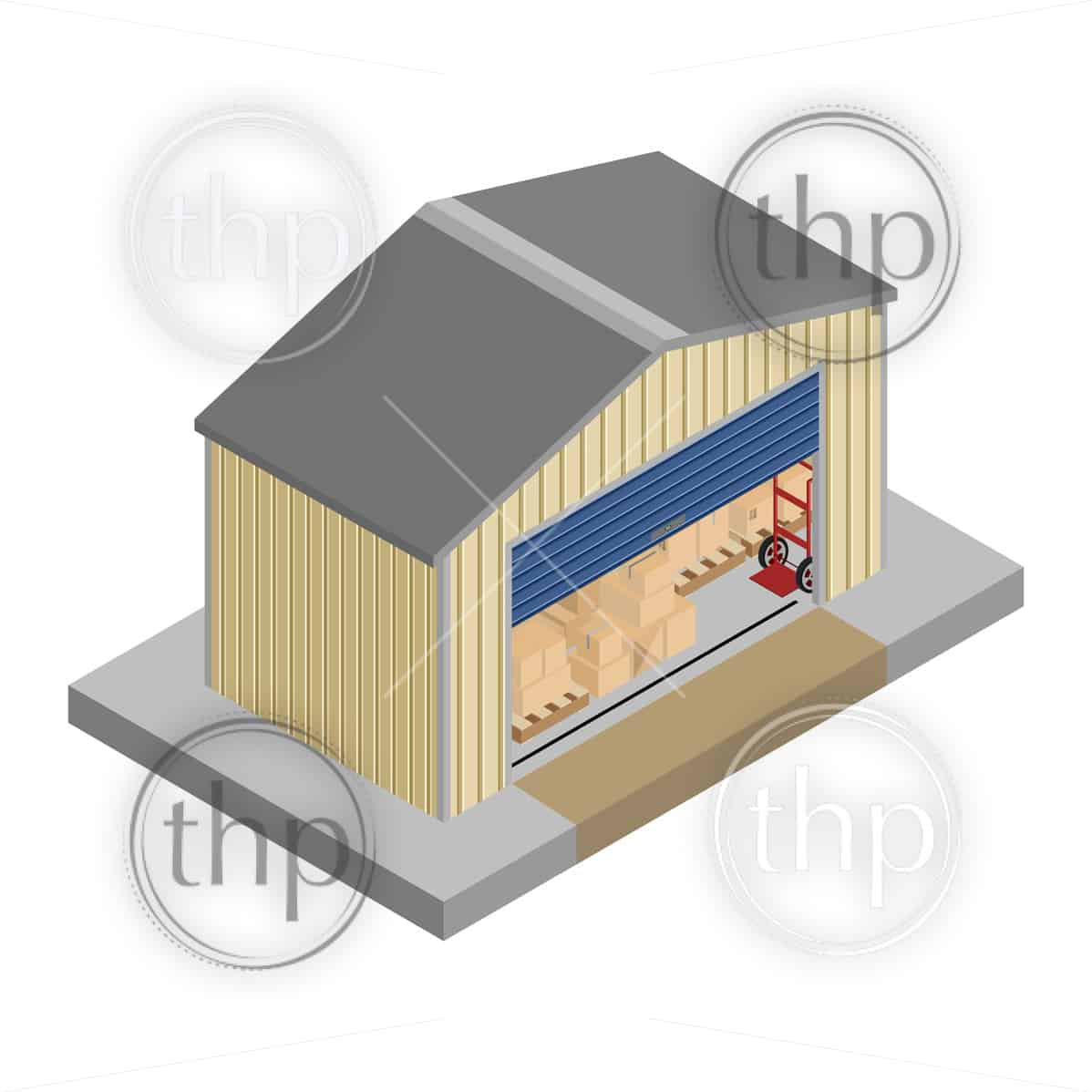 Storage unit filled with boxes and pallet crates for self storage concept in isometric vector design