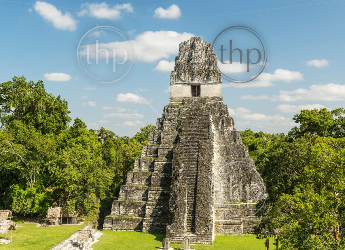 Temple 1, also known as the Jaguar Temple, in Tikal National Park, Guatemala in Central America