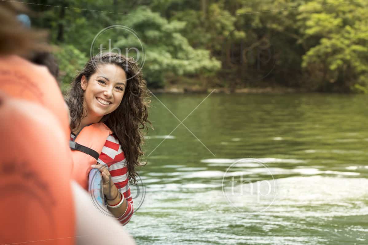 Tourist on river tour boat in Sumidero Canyon Chiapas, Mexico