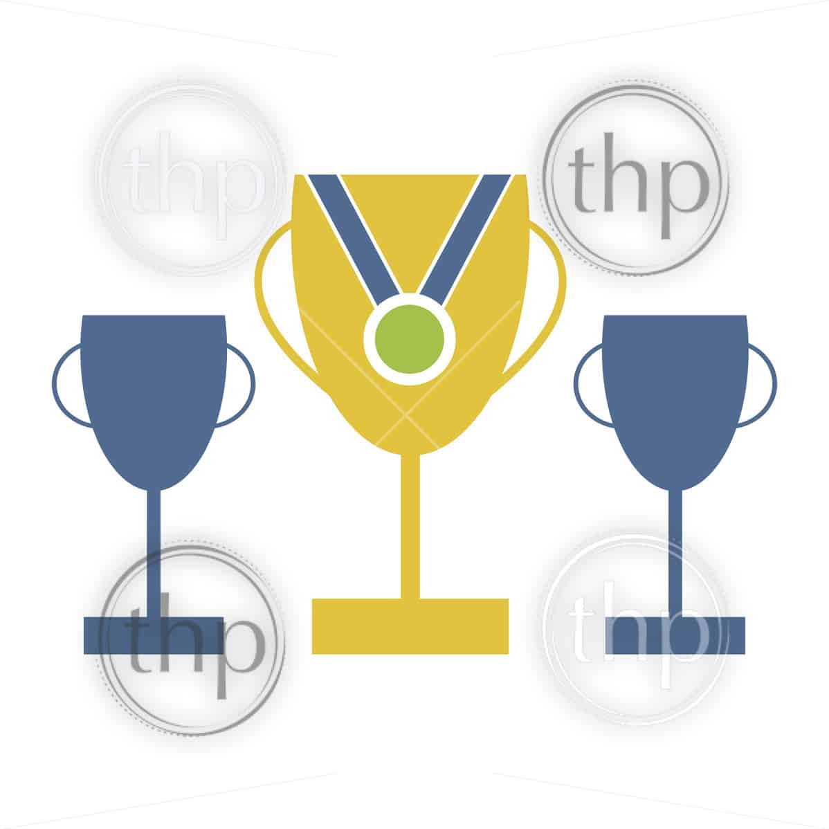 Flat design style vector of trophies and medals for success concept