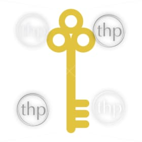 Vintage style old key in flat design vector