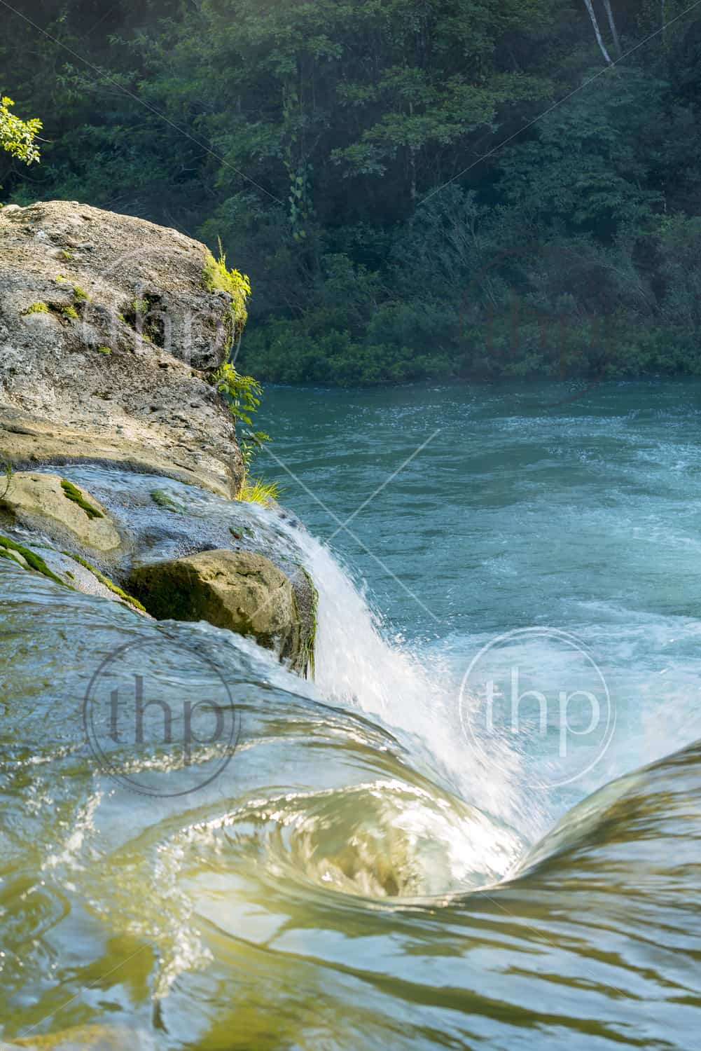 Water flowing from waterfall in forest of Rio Blanco National Park in Toledo Belize