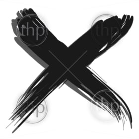 Black X cross mark with shadow in grunge style vector