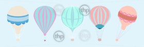 Classic style hot air balloons vector with 5 different varieties