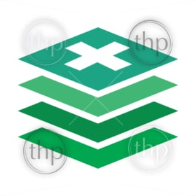 Sustainable building concept vector of green slices stacked together
