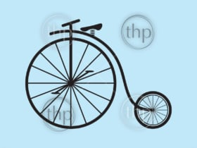 Classic vintage penny farthing bicycle vector