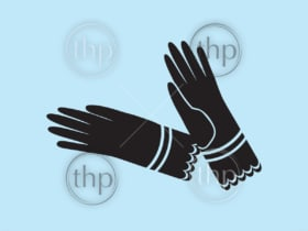 Vintage Victorian era ladies dress gloves in silhouette vector