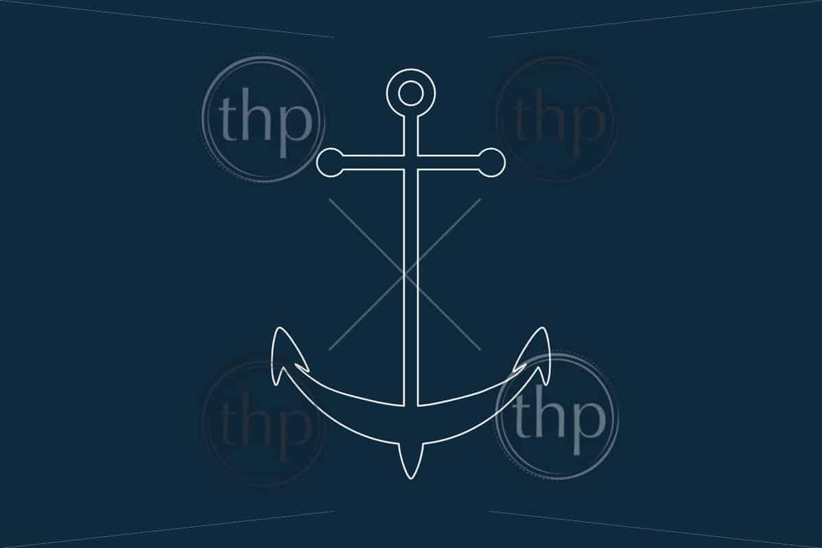 Line drawing vector of an anchor icon on blue