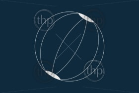 Line drawing vector of a beach ball on blue