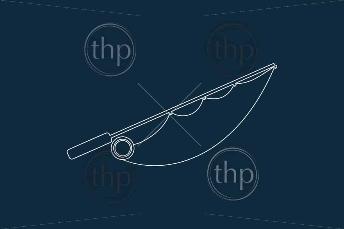 Line drawing vector of a fishing rod on blue