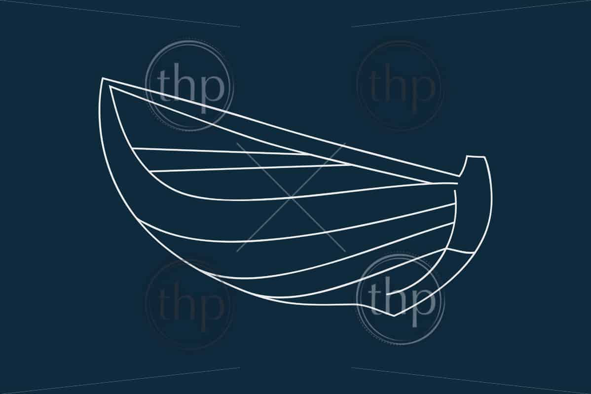 Line drawing vector of a wooden boat on blue