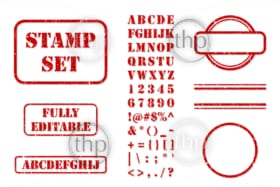 Complete set of vector elements needed to create red rubber stamps with texture