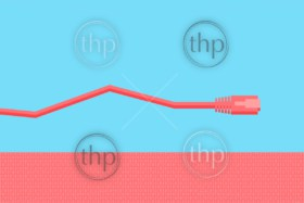 Modern design of a network cable with copy space and bold colors