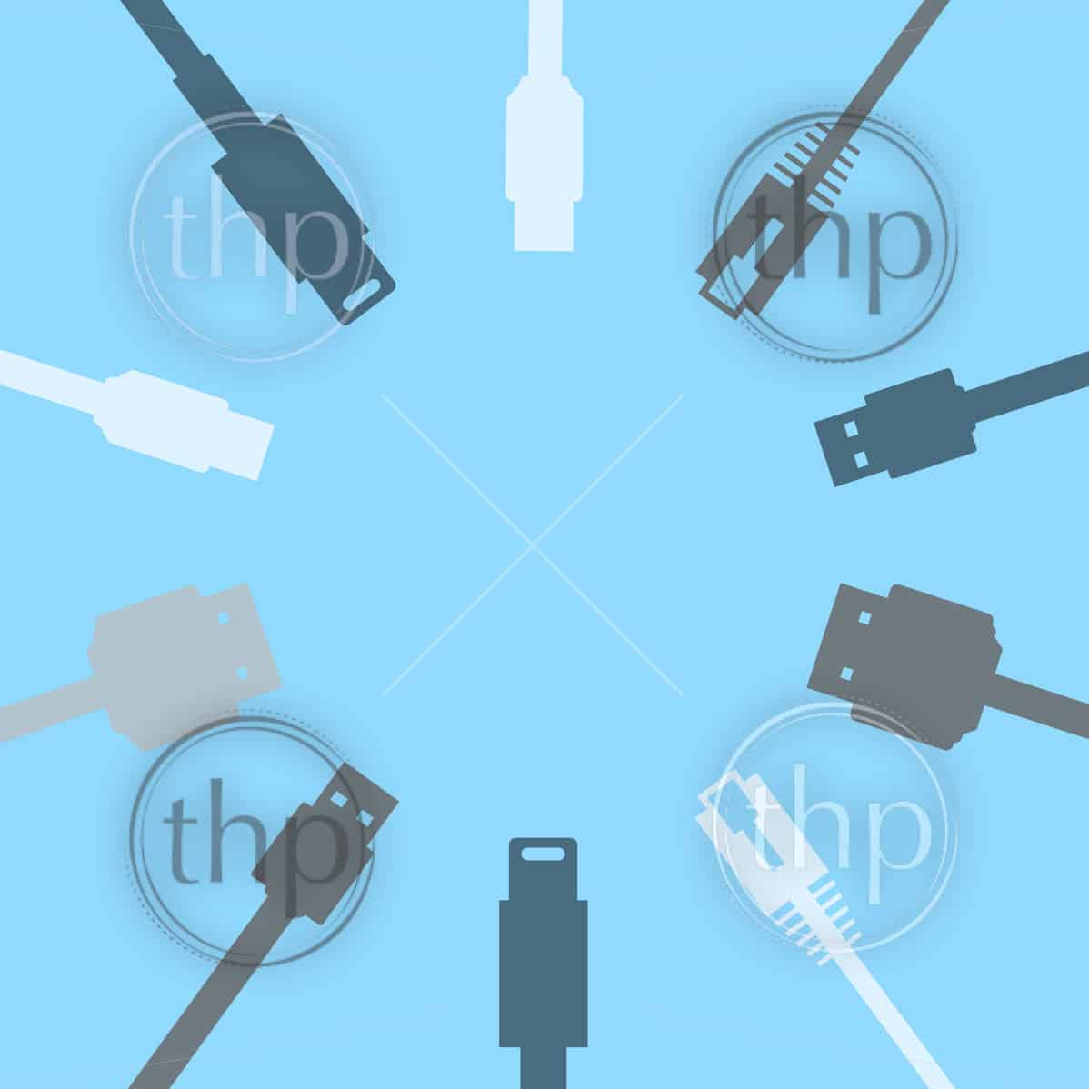 Circle of ten cable connections including HDMI, USB, ethernet in flat design vector