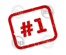 Number 1 red rubber stamp vector isolated