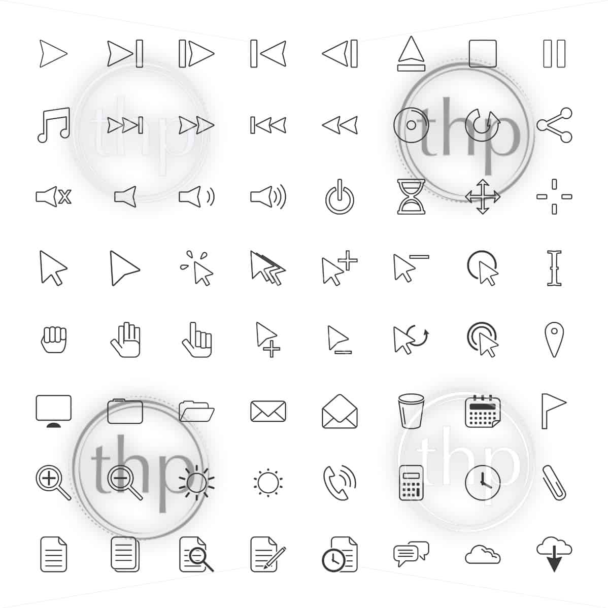 User interface icon set for many computer related actions in vector line drawings