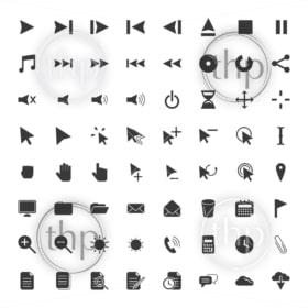 User interface icon set for many computer related actions in vector