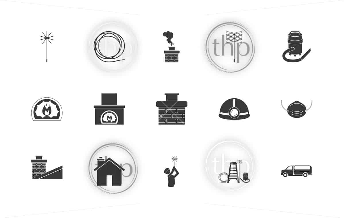 Chimney sweep icon set with chimney sweeper, tools, chimney, van and more in vector