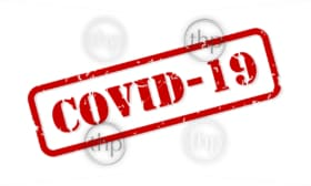 COVID-19 coronavirus red rubber stamp vector isolated