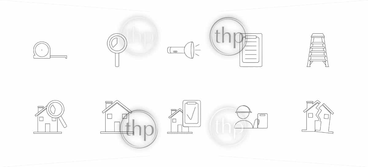 House or home inspection icon set with inspector, tools and house icons in vector