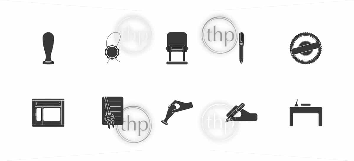 Set of icons for notary public, lawyer or professional office concept in vector