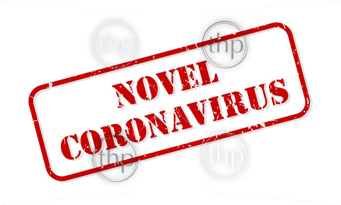 Novel coronavirus red rubber stamp vector isolated