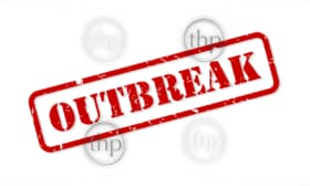Outbreak red rubber stamp vector isolated
