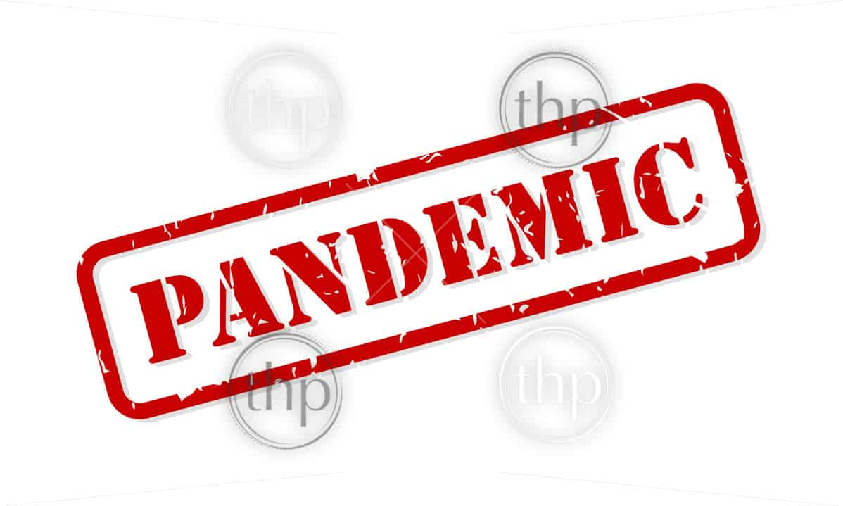Pandemic red rubber stamp vector isolated